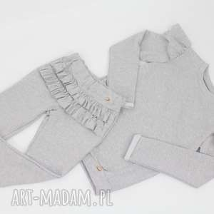 ręczne wykonanie ubranka zestaw z falbankami spodnie i bluza
