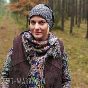 czapka dzianina z materiałem miękka zimowa damsko męska szary melanż, czapka, etno