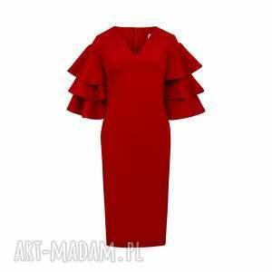 margaret dopasowana czerwona sukienka do kolan, czaerwona midi