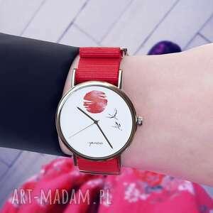 Zegarek - japońskie żurawie 2 czerwony, nylonowy zegarki yenoo
