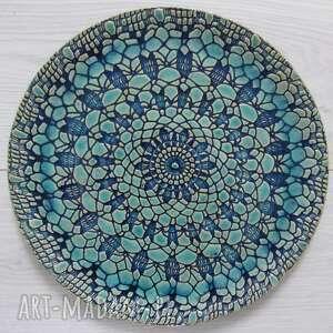 Koronkowy talerz ceramiczny ceramika ana dekoracyjna, patera