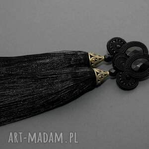 pod choinkę prezent, kolczyki sutasz z onyksami, sznurek, eleganckie