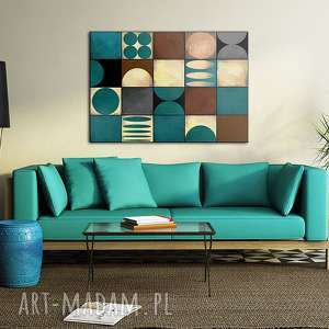 obraz na płotnie - 100x70cm abstrakcja w turkusie 0219, abstrakcja, kształty