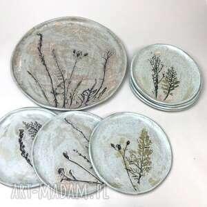 Ceramiczny zestaw patera i 7 talerzyków, ręcznie robione
