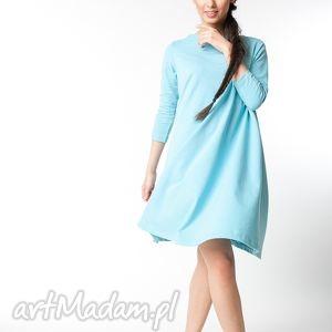 L / XL sukienka typu klosz wiosenna błękitna, bawełna, dzianina, wiosna, eko, lużna