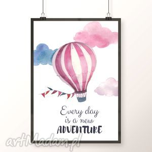Plakat / ADVENTURE A3, balon, balonik, przygoda, adventure, chmurki, chmury