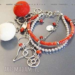 SREBRO, bransoletka naturalny koral, korale, hematyty, zawieszki, kule, obręcze