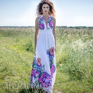 Felicja - biała suknia w kwiaty, długa, maxi,