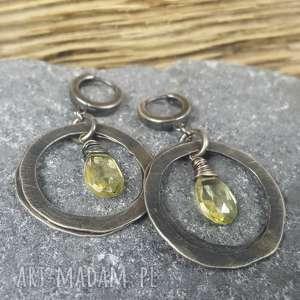 Kolczyki srebrne z cytrynem treendy ze srebra, z-cytrynem