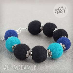 Niebieska elegancja - ,filcowa,filc,srebrna,niebieska,lekka,elegancka,