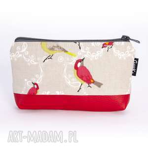 kosmetyczka duża ptaki z ekoskórą, kosmetyczka, saszetka, ptaki,