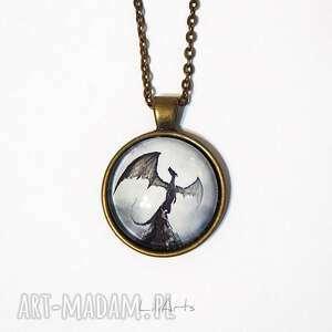 naszyjniki medalion, naszyjnik - smok cienia prosty, brąz, naszyjnik, medalion