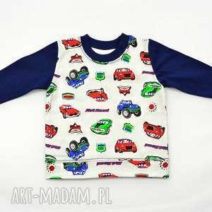 samochody szara koszukla z długim rękawem dla chłopca, bawełna, rozmiary 68-122