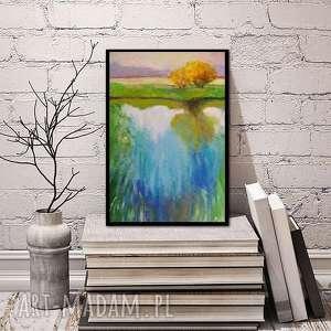 obraz na płótnie - wiosna 24/30 cm, obraz, woda, malarstwo, zieleń, akryl