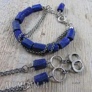 bryŁki lapis lazuli iii komplet, lapis, lazuli, srebro, bransoletka, kolczyki