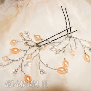 szpilki do włosów kokówki ślub - perły naturalne, kryształki, kokówki, szpilki