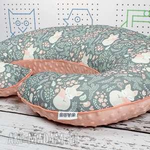 Duża poduszka do karmienia Śpiący Lisek - Szary , rogal, poduszka, karmienia, minky