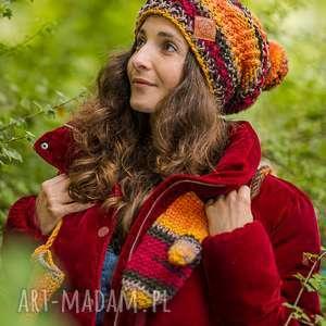 follow me jesień czapka, kolory jesieni, kolorowa ciepła gruba, wełniana
