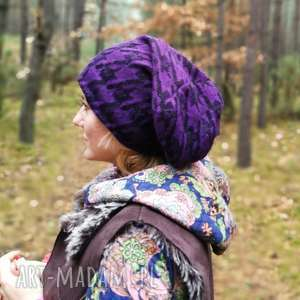 ruda klara czapka damska męska fioletowa długa boho zimowa handmade we wzory