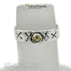 pierścionek z cytrynem - obrączka, cytryn, srebro, oksydowana, 925
