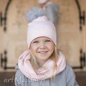 Komplet ROSA czapka komin, czapka, tiulowy-pompon, rosa, dla-mamy-i-córki,