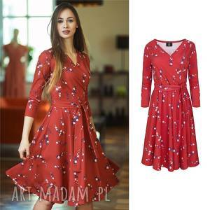 hand-made sukienki atencja czerwona kwiatki   kopertowa sukienka rozkloszowana