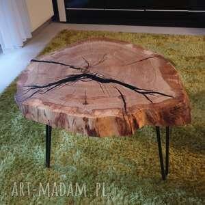 Stolik kawowy dębowy plaster drewna żywica stoły sciete
