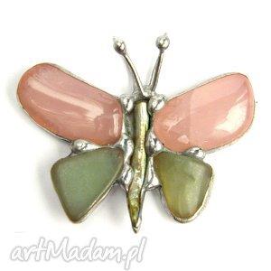 Wisior: Motyl różowy z awenturynem, minerały, kwarc, awenturyn, motyl, naszyjnik