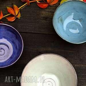 kolorowe miseczki 3 szt fiolet, niebieski, beż średnie, ceramika na prezent