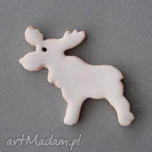 prezent święta RUDOLF-broszka ceramiczna, minimalistyczny, ozdoba, przypinka