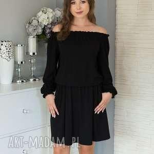 KARMEN sukienka z marszczonym hiszpańskim dekoltem, czarna., sukienka, hiszpanka