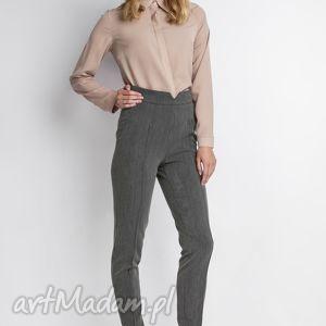 Spodnie z wysokim stanem, SD112 grafit, wysokie, grafitowe, długie, zamek, eleganckie