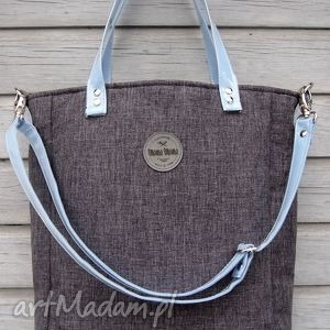 na ramię torebka cuboid city denim, duża, pojemna torebki