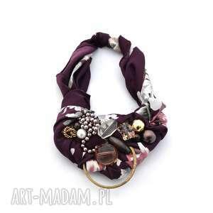 OBERŻYNA naszyjnik handmade, naszyjnik, kolia, kolorowy, fiolet, oberżyna, bordo