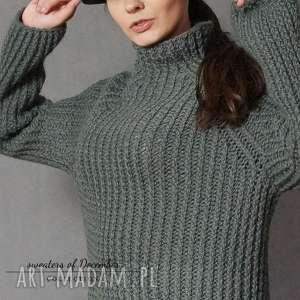 Sweter khaki, dziergany, półgolf, sweter, wełniany