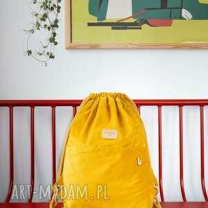Sztruksowy, żółty plecak worek słoneczna czwóreczka surprise me