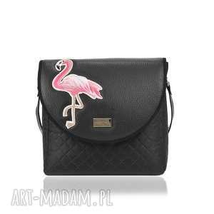 torebka puro 1730 flamingo black, puro, klapkomania, pikowana, pojemna, naszywka