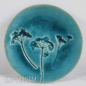 turkusowy roślinny talerzyk, fusetka, ceramiczna, mydelniczka