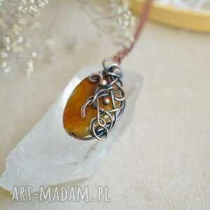 handmade naszyjniki agat w brązach - wisior na łańcuszku