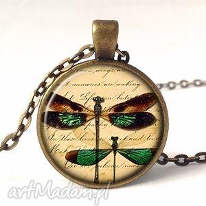 retro ważki - medalion z łańcuszkiem - ważka, naszyjnik