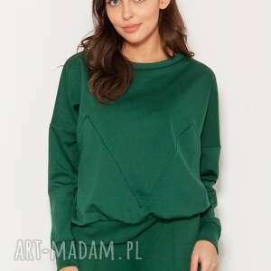 bluza z geometrycznymi cięciami, blu148 zielony, polski produkt, wysokiej