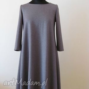 7 - sukienka jasno szara melanż, sukienki, sukienka, dzianina, rozkloszowana