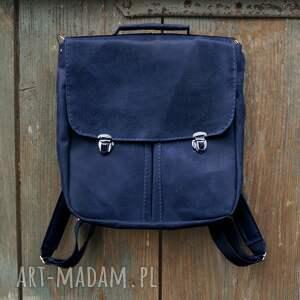 prl plecak/teczka skóra naturalna orzechowa, plecak damski, niebieski
