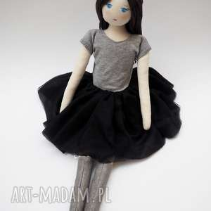 lalka #133, szmacianka, prytulanka, tiulowa, tilda, brunetka, bawełniana