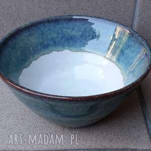 ceramika misa niebiesko-brązowo-biała, ceramika, misa, glina, rękodzieło