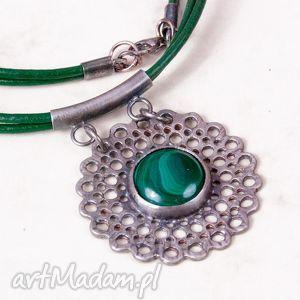 Prezent a535 Malachitowa koronka naszyjnik srebrny , naszyjnik, srebrny, zmalachitem
