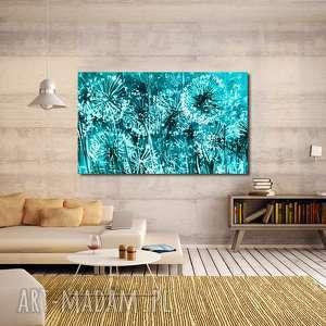 obraz xxl dmuchawce 6 turkusowe -120x70cm na płótnie, dmuchawce, piękne, kwiaty