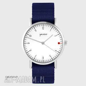 zegarek yenoo - simple biały granatowy, nato, unisex, zegarek, pasek, nato