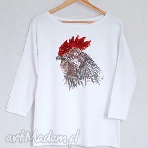 ptaki bluzka bawełniana oversize l/xl biała, koszulka, bluzka
