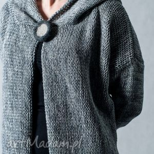 hermina szary melanżowy rozpinany sweter z kapturem, szary, rozpinany, wełna